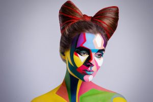 Lady painted with modern paint