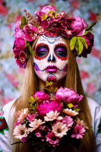 Lady dressed as day of the dead