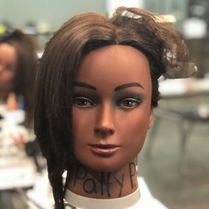 mannequin head with styled hair